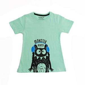 Girl T-Shirt H/L Monster C-Green