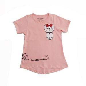Girl T-Shirt H/L Kitty Peach