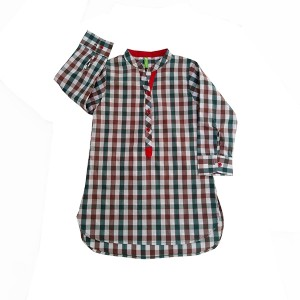 Girls Cotton Top CHK Multicol
