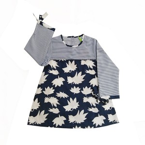 Girls Cotton Top Printed Nav/Wht