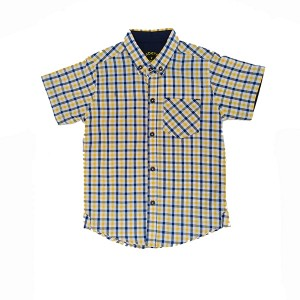 Boys Cotton Shirt CHK Yel/Nav