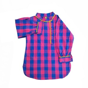 Girls Cotton Top Chk Piping
