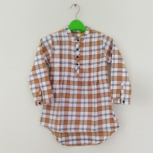 Girl Flannel Top Ban Chk Org/Wht