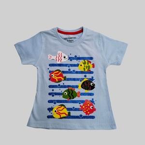 Girls T-Shirt H/L Fish Sky