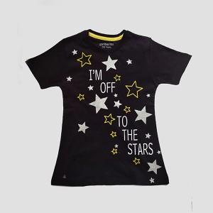 Girls T Shirt H/L Star Black