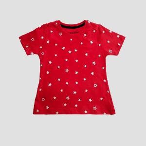 Girls T-Shirt H/L Red Wht
