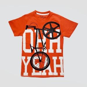 Boys T Shirt H/L Bicycle Orange