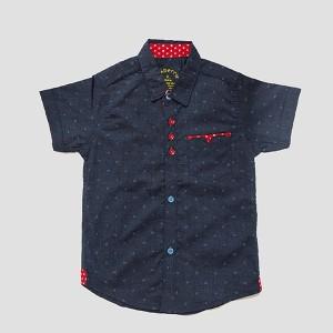 Boys Cotton Shirt H/L Print Navy